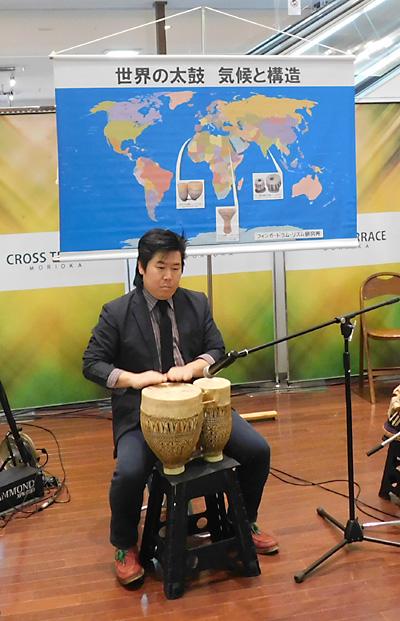 佐伯モリヤス レクチャーコンサート 世界の太鼓 気候と構造 クロステラス 盛岡 打楽器 モロッコ 解説