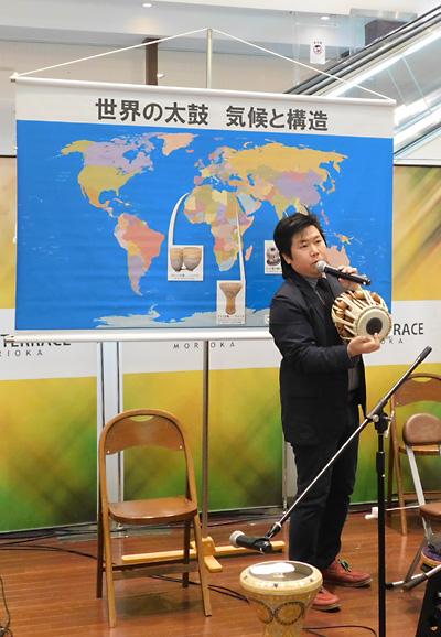 佐伯モリヤス レクチャーコンサート 世界の太鼓 気候と構造 クロステラス 盛岡 打楽器 インド 解説