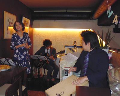 酒バ935 大崎駅 ライブ 中村早智 鈴木大輔 佐伯モリヤス カホン ジャズライブ
