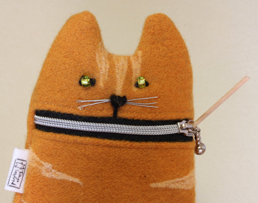 Ipod case camera zipper pouch Hungry ginger cat by Tokyoinspired