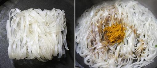 平麺ビーフン カレー炒め