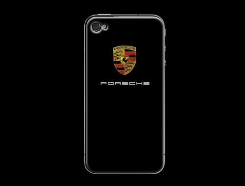 iPhone4/4s用ポルシェロゴ入り背面保護カバー(ステッカー)ブラック