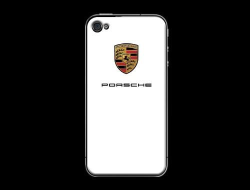 iPhone4/4s用ポルシェロゴ入り背面保護カバー(ステッカー)ホワイト