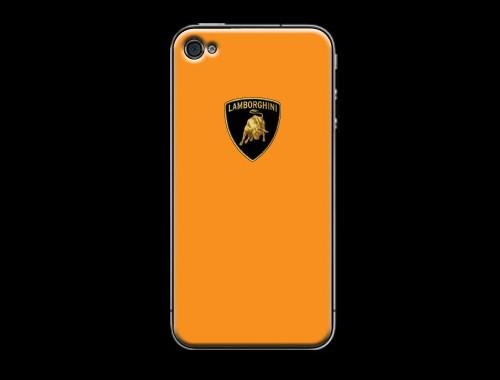 iPhone4/4s用ランボルギーニロゴ入り背面保護ケース(カバー) オレンジ