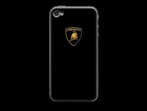 iPhone4/4s用ランボルギーニロゴ入り背面保護ケース(カバー) ブラック