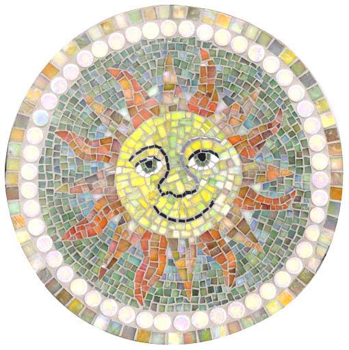 太陽のモザイク。イタリアのガラスモザイクを使用。
