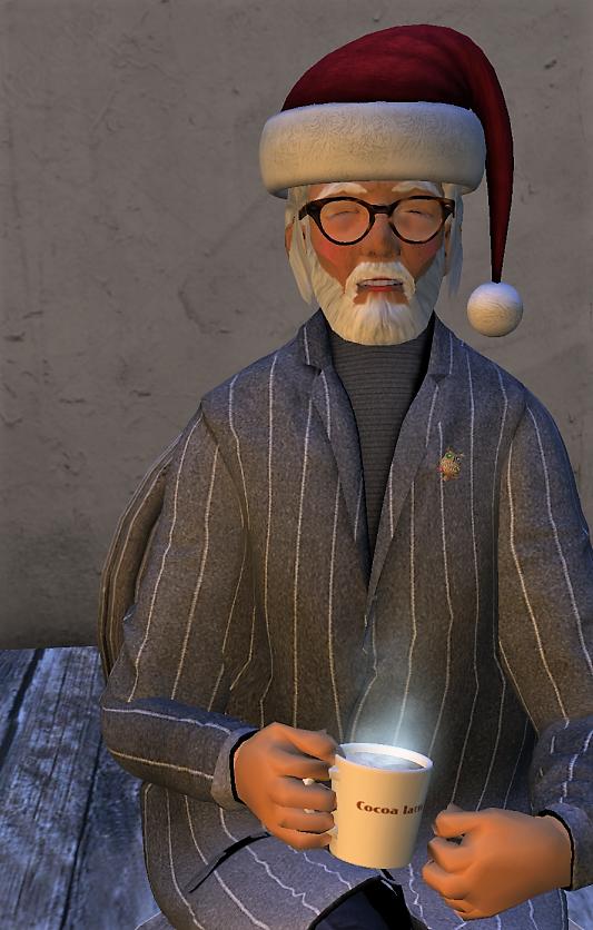 サンタ帽被った朋爺さんアバター