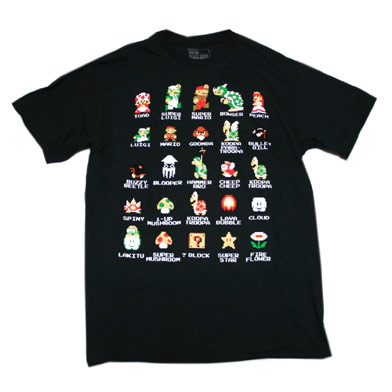 スーパーマリオ キャラ&アイテム Tシャツ(BLK)-1