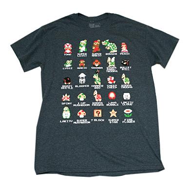 スーパーマリオ キャラ&アイテム Tシャツ-2
