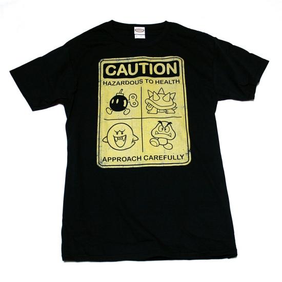 スーパーマリオ CAUTION Tシャツ-1
