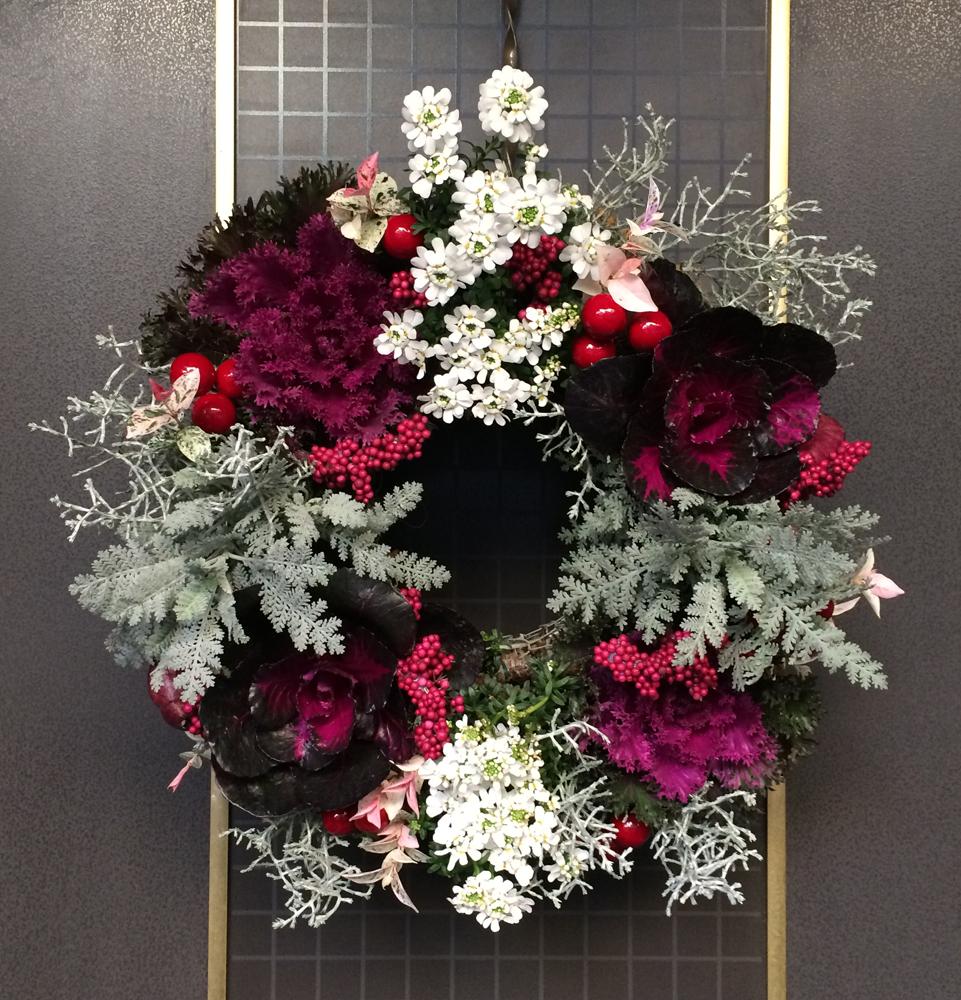 クリスマス・リース 手作り 葉牡丹 イベリス  ワイヤー・リース