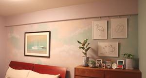 壁 ペイント 塗装 マーブル模様 パステル多色使い ぼかしDIY
