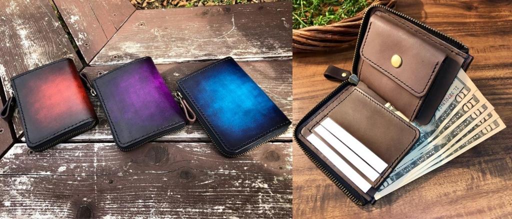 ファスナー付き二つ折り革財布の詳細