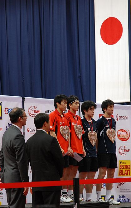 バドミントン2009オーストリア国際男複、川前直樹+佐藤翔治選手優勝、廣部義輝+小宮山元選手準優勝