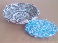 扇風機裂き布織り鍋敷き