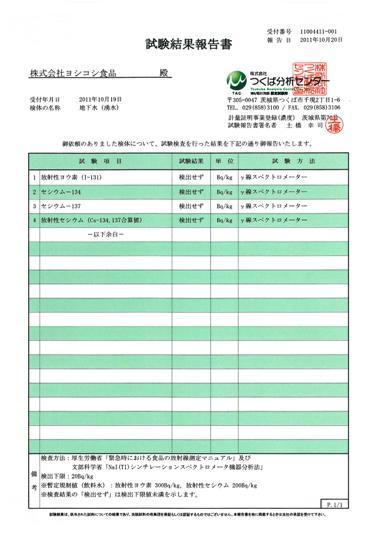 湧水2011.10.20.放射能検査結果