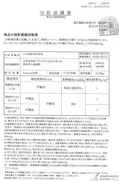 H23年産九州フクユタカ大豆放射能検査表