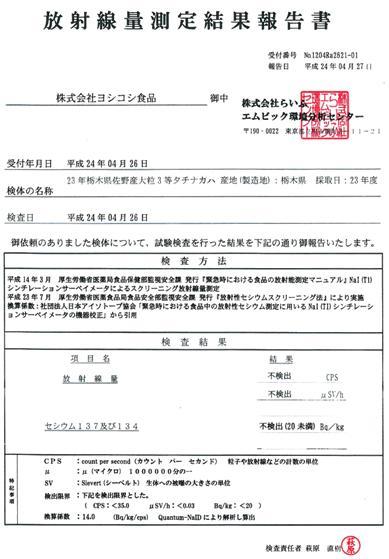 H23年佐野産大豆検査結果