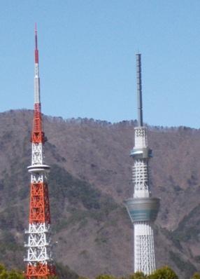 スカイツリー、東京タワー、ほぼ同じ高さに