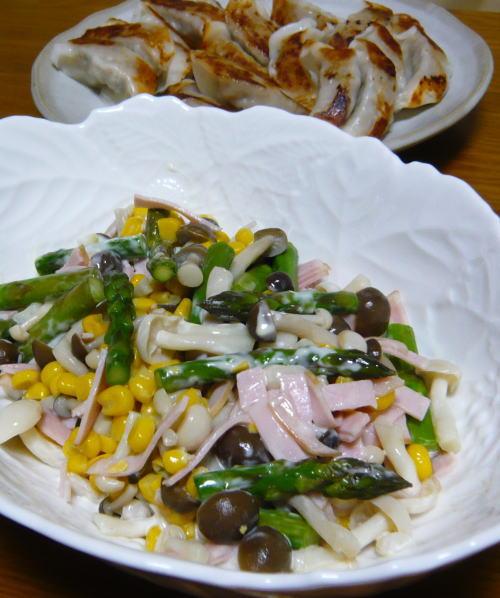 アスパラガスとキノコのサラダ