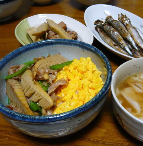 筍と豚肉の味噌丼