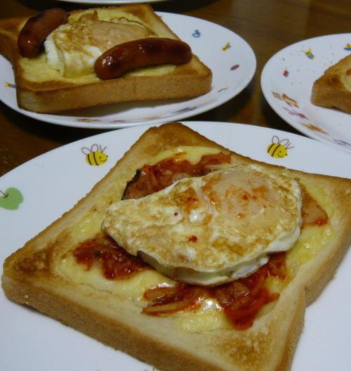 キムチ目玉焼きトースト