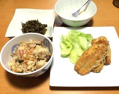 炊き込みご飯とアジフライ