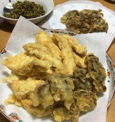 鶏と舞茸の天ぷら