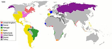 1800年頃の各国植民地