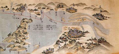 築城時の大阪城と大阪行き航路図