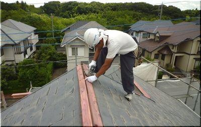 屋根 笠木トタン 交換
