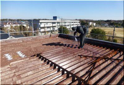 守谷市 折半屋根 塗装