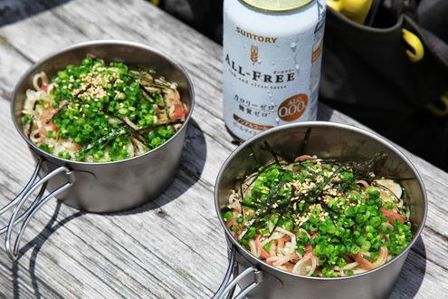 流水麺とノンアルコールビール