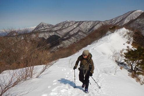 鍋割山(赤城山)山頂手前の稜線