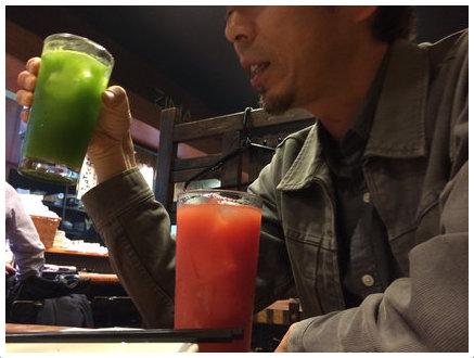 鳥臣の青汁ハイとトマトハイ