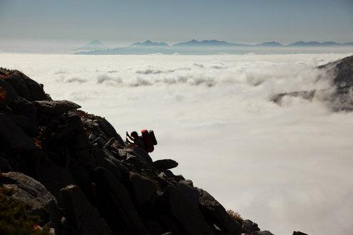 常念岳山頂直下