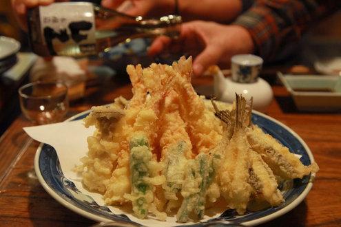 秀寿司の天ぷら盛り合わせ