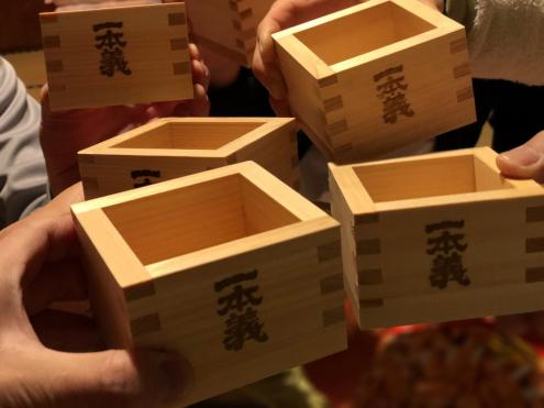 福井の一本義ヒノキ枡酒
