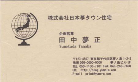 和紙−薄茶 地球 ビジネス名刺