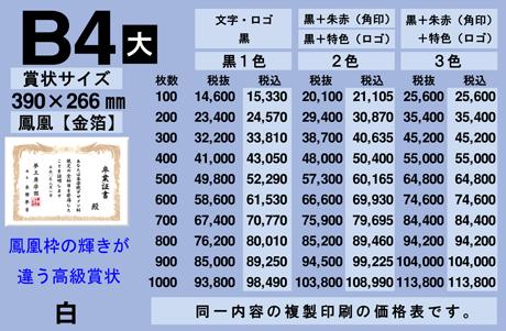 B4賞状印刷価格表(白) 高級賞状