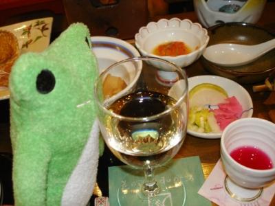 カエルと白ワイン