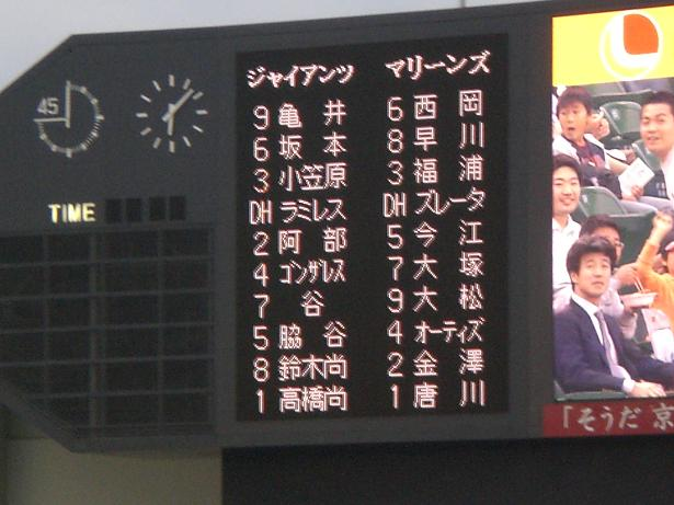 5月20日ロッテVS巨人スタメン