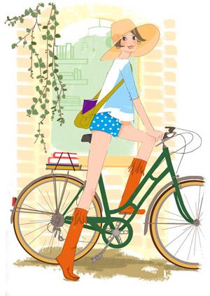 自転車 女性向けイラスト