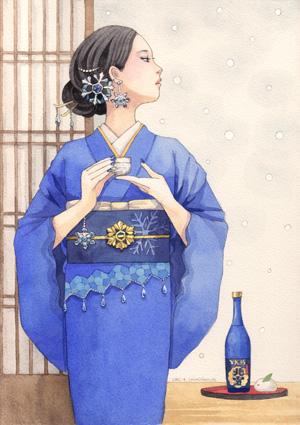 女性イラスト 着物イラスト お酒
