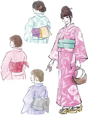 和服 着物イラスト 浴衣 女性イラスト