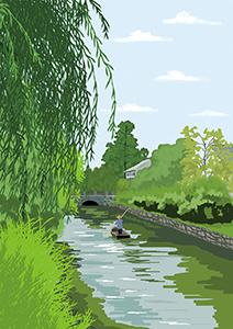 風景イラスト、柳、水郷