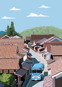 風景イラスト、町並み、屋根瓦