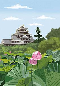 風景イラスト、お城、和風イラスト、蓮池、花