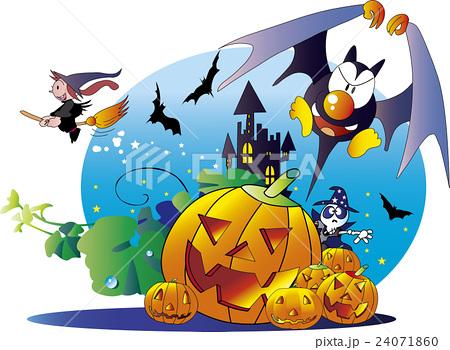 ハロウィン、ハロウイーン、イラスト、ベクター、カボチャ、魔女
