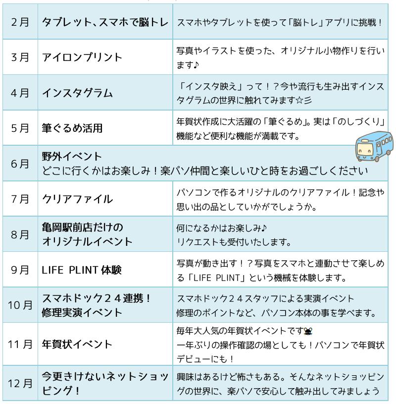 2019年イベント一覧表
